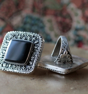 Афганский перстень с черным стеклом