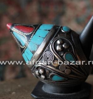 Афганский перстень в стиле Трайбл с цветной мастикой