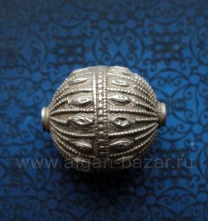 Старая йеменская бусина из высокопробного серебра. Йемен, йемениты (йеменские ев