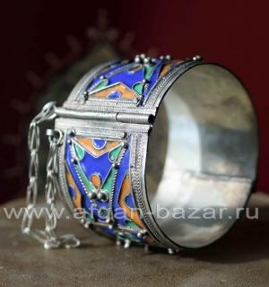 Марокканский браслет с перегородчатой эмалью в алжирском стиле
