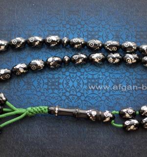 Винтажные иранские четки из черного бакелита с инкрустацией. Иран, конец 20-го в