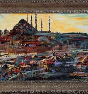Александр Емельянов. Закат в Эминеню, Стамбул. Холст, масло