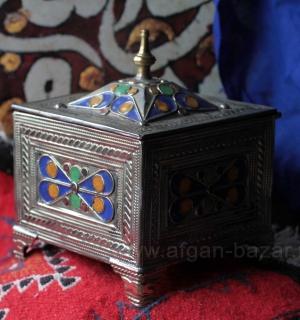 Марокканская шкатулка с горячей эмалью. Марокко, Анти-Атлас (Тизнит-Тарудант), с