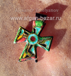 """Александр Емельянов. кулон """"Крест"""". Медь, горячая перегородчатая эмаль, прозрачн"""
