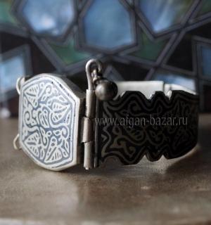 Афганский браслет с чернью и растительным орнаментом