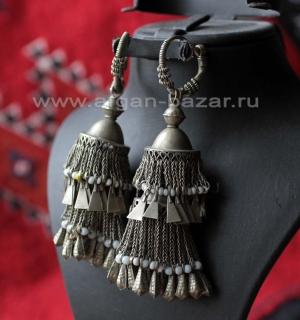 Афганские племенные серьги - височные подвески. Афганистан, народность Хазара, 2