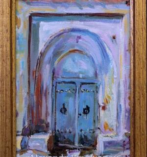 Александр Емельянов. Дверь старого дома (Иран). Холст на картоне, масло