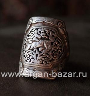 Винтажный китайский перстень с изображением тигра (?). Народность Миао (Хмонг)