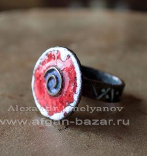 """Александр Емельянов. Кольцо """"Спираль"""". Медь, ковка, пайка, перегородчатая эмаль"""