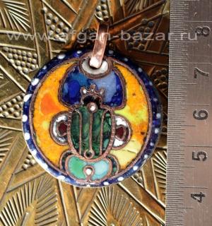 """Александр Емельянов. Кулон-амулет в египетском стиле """"Скарабей"""". Медь, горячая п"""