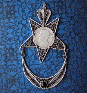 Винтажная марокканская подвеска в виде звезды и полумесяца со старой монетой