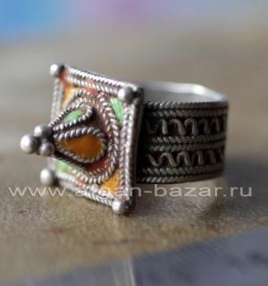 Старый марокканский перстень с горячей эмалью