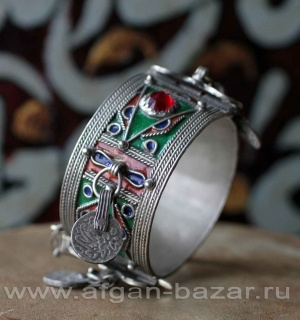 Марокканский браслет с перегородчатой эмалью. Марокко, Тизнит, конец 20-го века