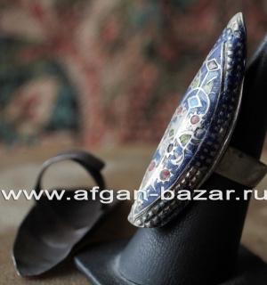 Традиционное мультанское кольцо с эмалью. Пакистан, Мультан, вторая половина 20-