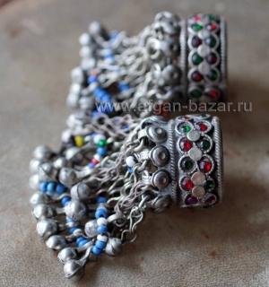 Пара афганских колец для волос - украшения Кучи. (Tribal Kuchi Jewelry)