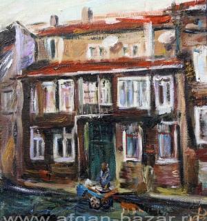 Александр Емельянов. Продавец хамсы (Стамбул). Холст, масло.  25/30 см 2015