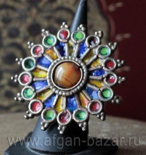 """Пакистанское кольцо """"Чакор"""" с горячей эмалью и сердоликом - авторская переработк"""