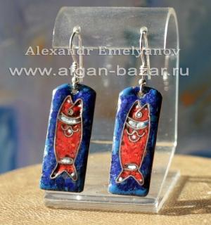 """Александр Емельянов. Серьги """"Рыба"""". Медь, горячая перегородчатая эмаль"""
