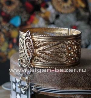 Винтажный тунисский филигранный браслет с изображением рыбы