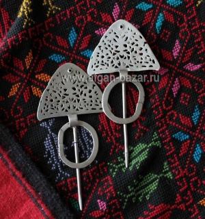 """Пара традиционных тунисских фибул-застежек для одежды """"Bzim"""". Тунис,  19-й - нач"""