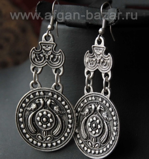 Турецкие серьги в восточном стиле -  Oriental Ottoman Style Silver plated Tribal