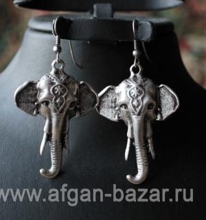 Серьги из ювелирного сплава в виде слонов