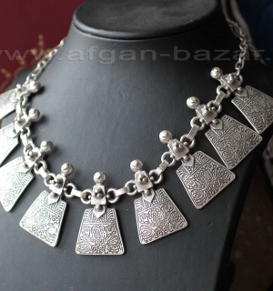 Колье в стиле Трайбл - Vintage Oriental Style Silver plated Turkish Tribal Boho