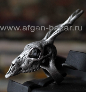 Кольцо в виде черепа антилопы Unusual Silver plated Tribal Boho Ring  shaped in
