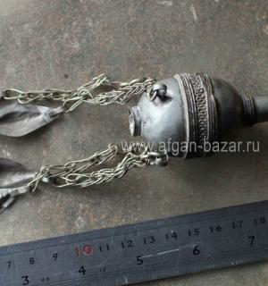 Туркменская двойная бусина с подвесками-шельпе, - деталь накосного украшения. Се