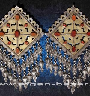 """Пара туркменских подвесок-пекторалей, """"Чанга"""",  украшение костюма - застежки-аму"""