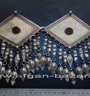 """Пара туркменских подвесок-пекторалей, """"Чанга"""" или """"Чапраз"""",  украшение костюма,"""