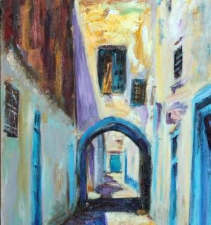 "Александр Емельянов. ""Улица в Кайруване, Тунис"". Холст на картоне, масло"