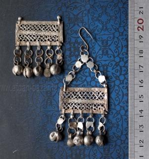 Винтажные египетские серьги - амулеты для церемонии Зар (у одной из сережек отсу